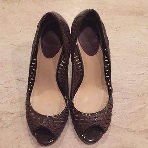 Cole Haan brown peep toe heels
